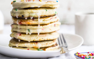 Cake batter pancakes is the birthday breakfast of dreams (and could not be easier to whip up)