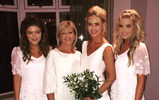 Aoibhín Garrihy used her bridesmaids' dresses to make baby Hanorah's christening gown