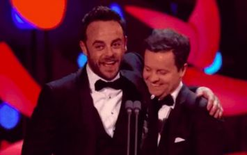 Ant is in tears as he gives a moving acceptance speech at the TV Awards