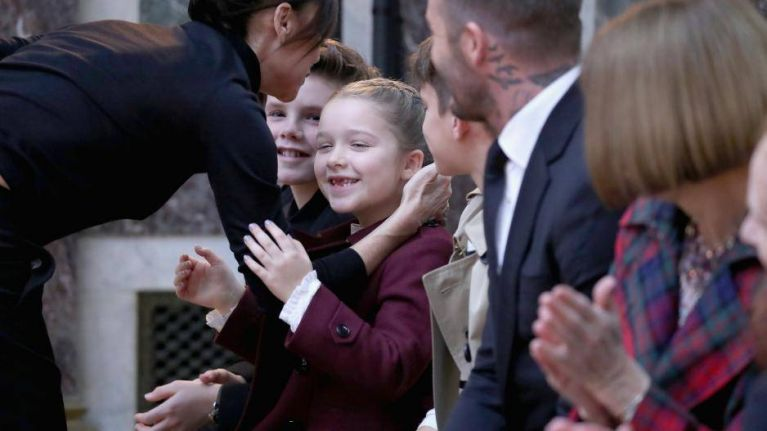What brand was the jacket Harper Beckham wore to her mother's show at NYFW?