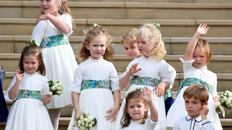 Prince George and his cousin Savannah are up to no good at the royal wedding