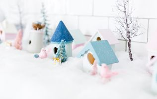 This adorable winter-village could be the perfect DIY project to do with your kids