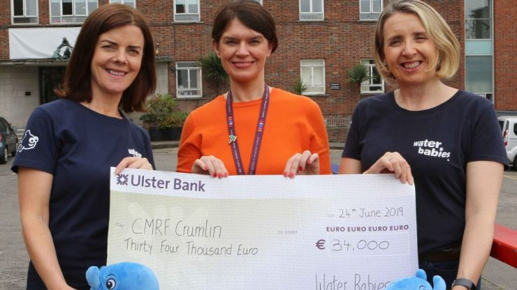 Water Babies present €34,000 to CMRF Crumlin for Cancer Support Centre