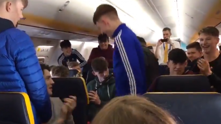 Irish lads play a brilliant trad session on board a Ryanair flight to Kerry