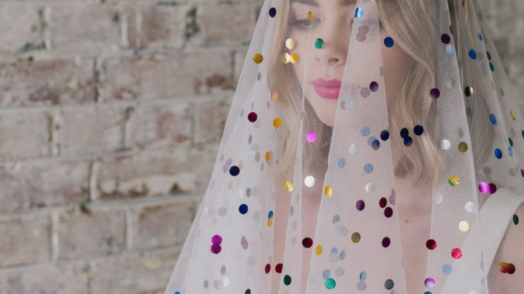 Rainbow veils perfect for brides who want something a little different