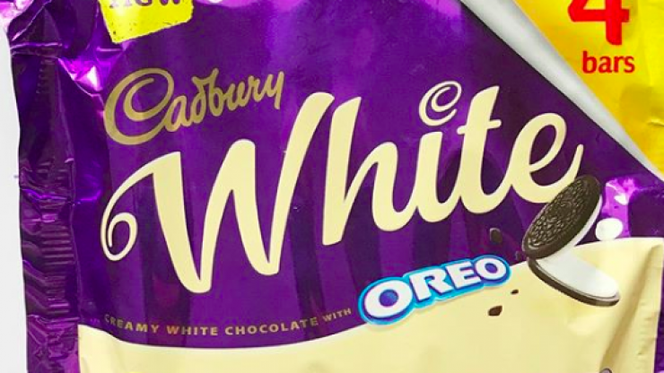 We're drooling looking at these new white chocolate Oreo bars from Cadbury