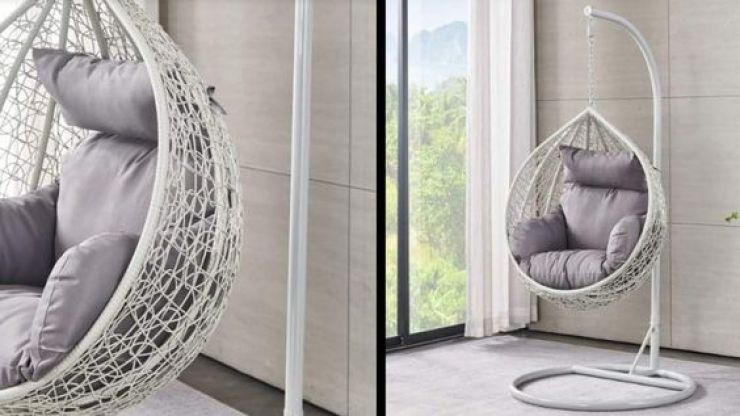 A mini kid sized version of the hanging egg chair exists and we're obsessed