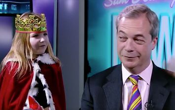 VIDEO: Nigel Farage got 'knighted' by a child on TV, and then she let him have it