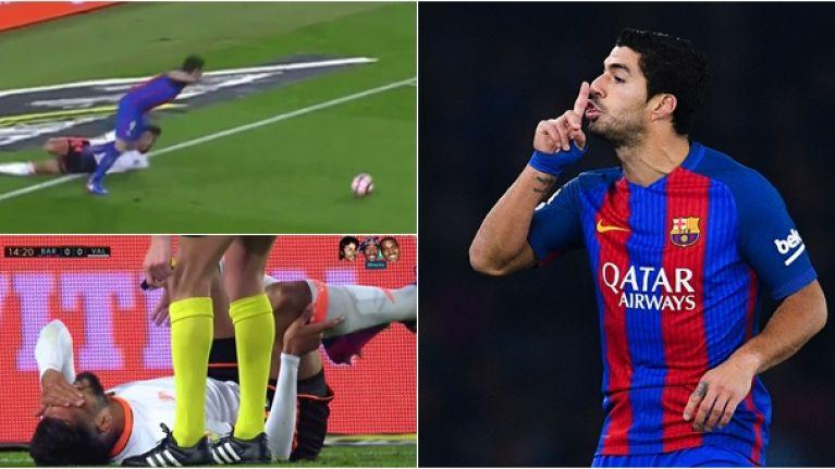 Piece of Luis Suarez's brilliance left Valencia defender unable to walk
