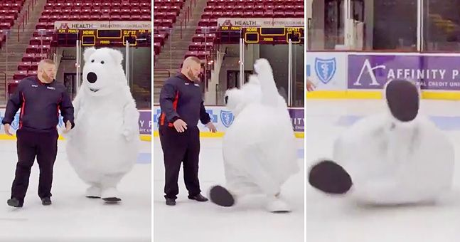 This p*ssed off polar bear mascot repeatedly falling over on ice is the best thing ever