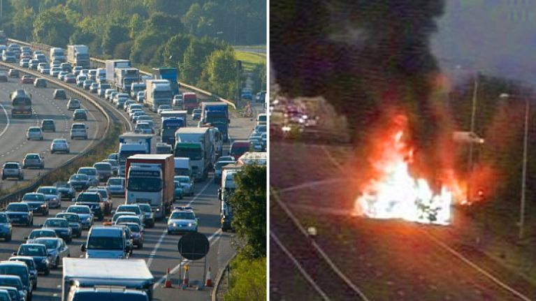 Breaking: Commuters warned of motorway chaos as huge fire closes down M25