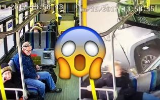 Passengers miraculously escapes after truck crashes through the side of a bus