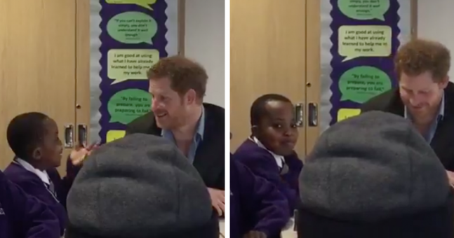 Prince Harry tried the old 'tap on the shoulder' trick on a kid but he was having none of it