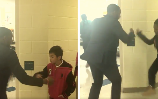 This teacher has a special handshake for each of his students because he's cooler than you