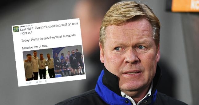 Everton fans seem to think Ronald Koeman and his coaching staff were hungover in work