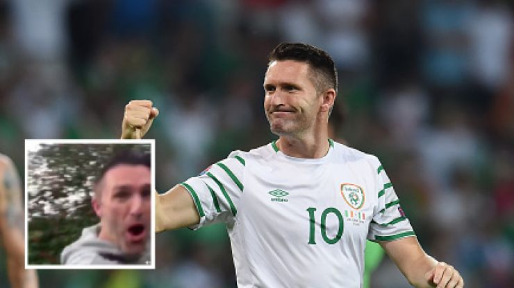 Watch Robbie Keane overcelebrate a back garden kickabout goal against his unimpressed son