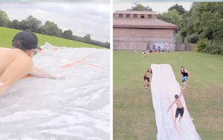 These guys were challenged to build a huuuuge waterslide and the results were truly epic