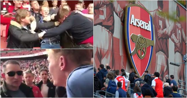 footage reportedly shows arsenal fans fighting one another at the