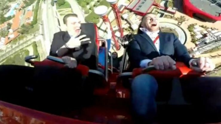 Watch as man and pigeon collide on high-speed rollercoaster