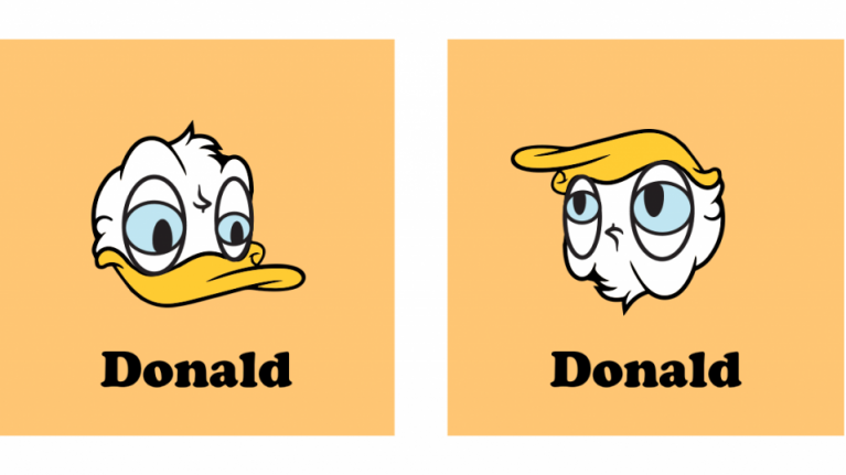 If you turn one Donald upside down, you get the OTHER Donald