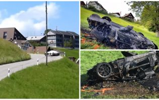 Footage has surfaced of Richard Hammond's terrifying crash in the Swiss Mountains