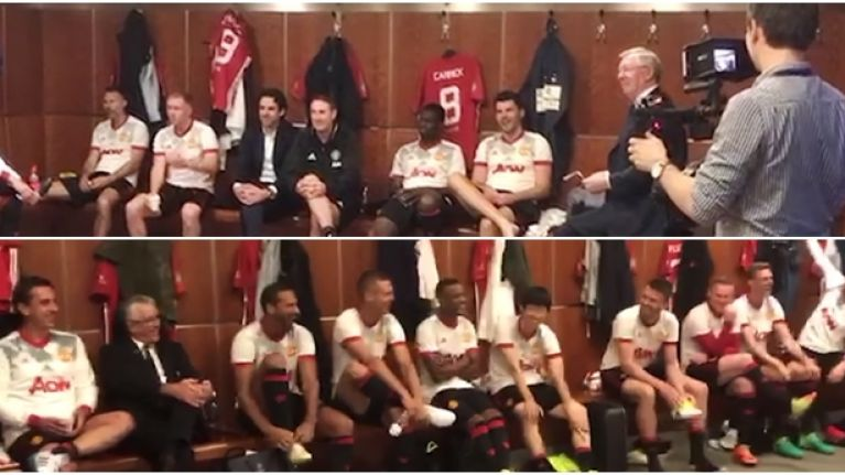 Great footage emerges of Sir Alex Ferguson's teamtalk before Michael Carrick's testimonial
