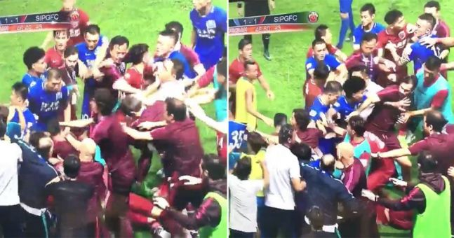 Oscar started an utterly massive brawl in the Chinese Super League