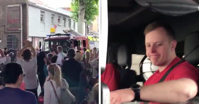 The amazing moment when London's firefighters were cheered leaving Grenfell Tower