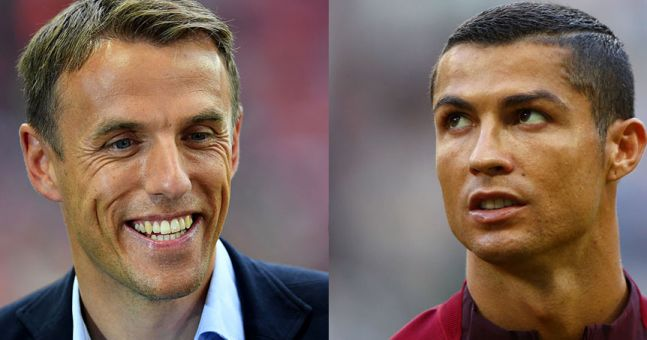 This is what happens when Phil Neville jokes about Cristiano Ronaldo's Manchester United return