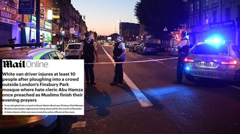 The Daily Mail's headline about the Finsbury Park mosque attack has caused anger