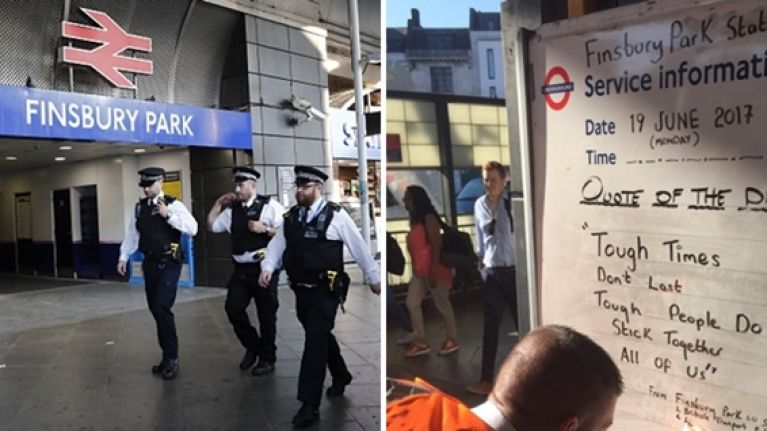 Powerful message of solidarity is shared at Finsbury Park station after terror attack