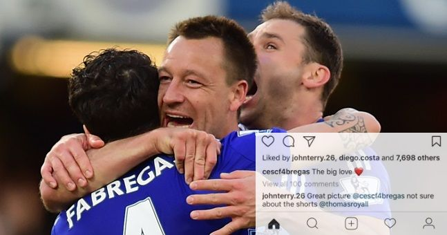 John Terry takes the piss out of Cesc Fabregas' romantic holiday photo