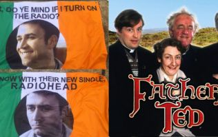 PIC: This Father Ted/Radiohead flag is surely the best flag at Glastonbury this year