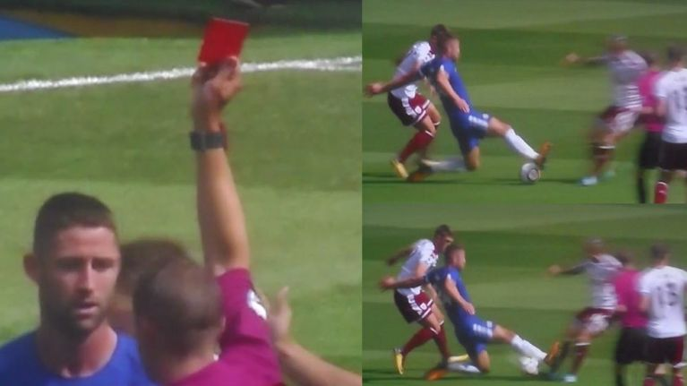 Chelsea's Gary Cahill given straight red for lunging in on Burnley's Steven Defour