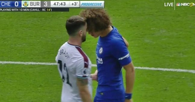 Pissed off David Luiz took his frustration out on Robbie Brady