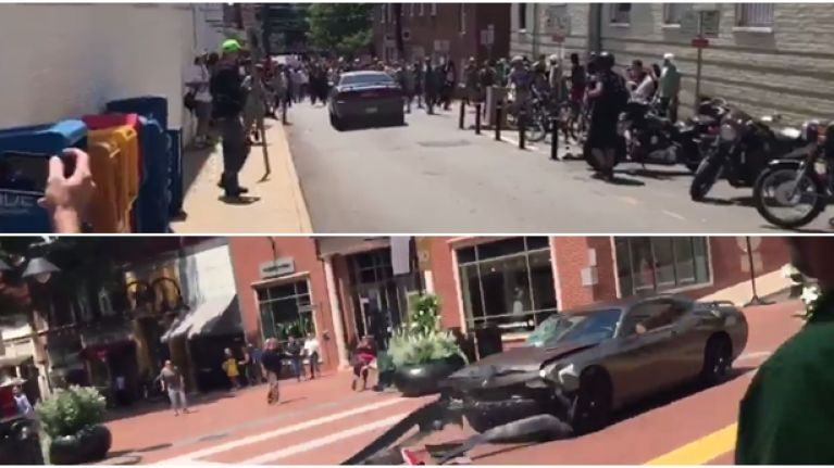 Car crashes into crowd protesting against white supremacists march in Virginia