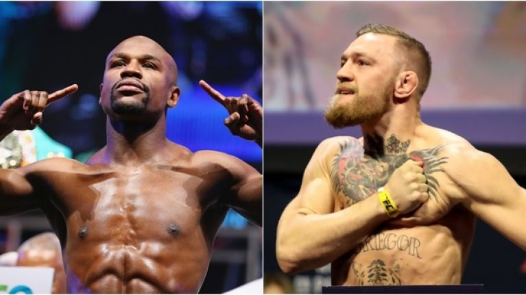Watch Conor Mcgregor And Floyd Mayweather Weigh In For Money Fight