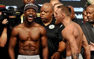 Floyd Mayweather has a massive painting of Conor McGregor hanging on his wall