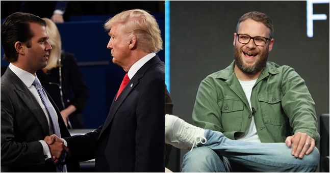 """Seth Rogen slides into Donald Trump Jr.'s DMs """"to remind him his father is a sexual predator"""""""
