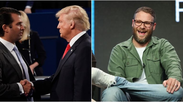 "Seth Rogen slides into Donald Trump Jr.'s DMs ""to remind him his father is a sexual predator"""