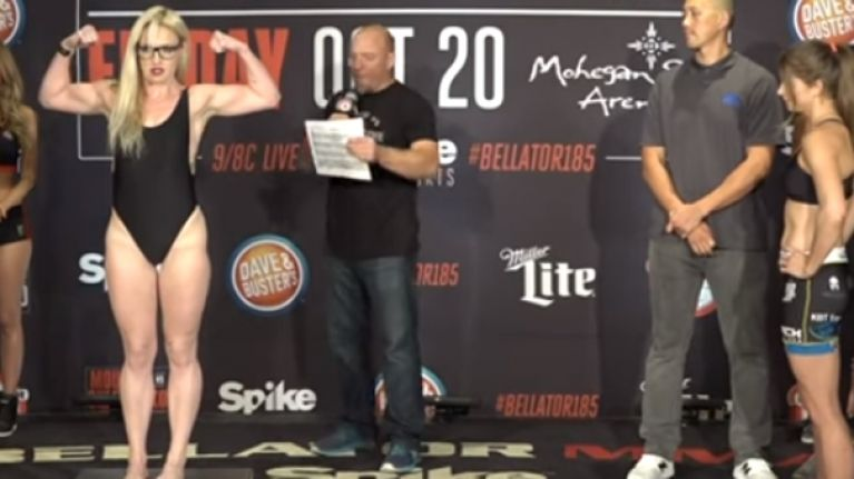 Heather Hardy caught unawares by rival during weigh-ins for Bellator 185
