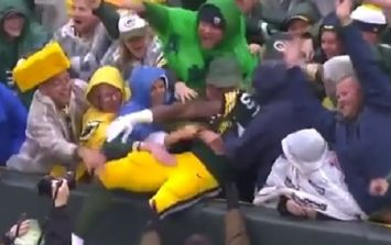 Female Packers fan got a tad handsy after Aaron Jones touchdown