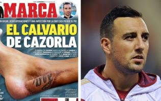 Santi Cazorla reveals scar from eight surgeries and how he almost had his foot amputated