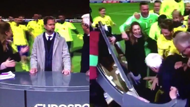 WATCH: Sweden players celebrate qualification by destroying pitch-side broadcast