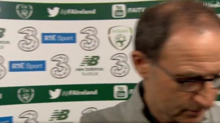 Martin O'Neill walks out on post-match interview with Tony O'Donoghue