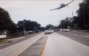 Dramatic dashcam footage captures plane crashing onto a highway in Florida