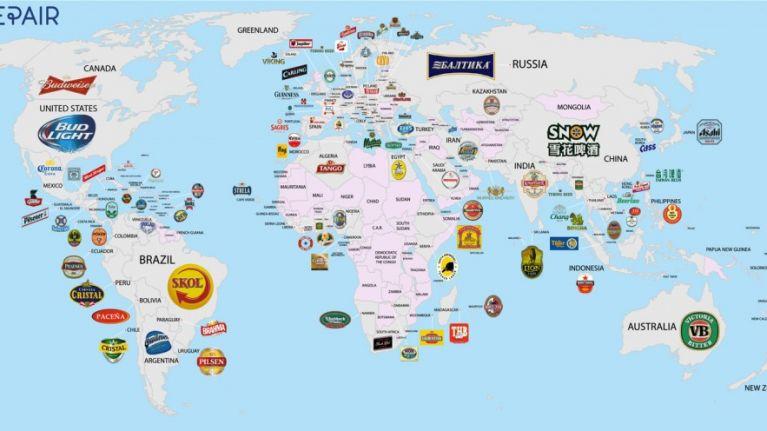 Uk In Map Of The World.A Map Of The World By A Country S Favourite Beer Brand Joe Co Uk