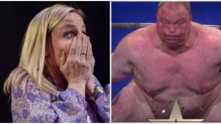 Naked weightlifter squats nude live on Norway's Got Talent (Video)