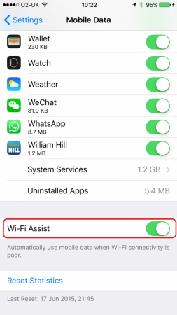 Scroll right down to the bottom, where you'll find 'Wi-Fi Assist'
