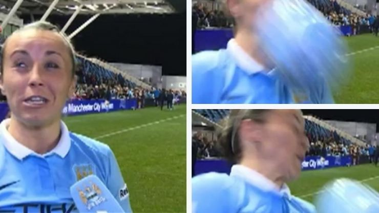 Manchester City star Natasha Harding gets a ball in the face during interview...and club take the p*ss (Video)